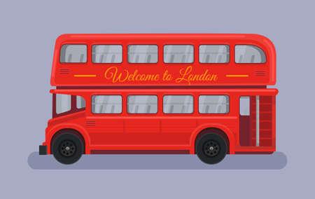 red bus: England British London red bus. Vector flat cartoon illustration