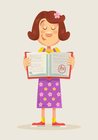 test results: School girl showing perfect test results with A plus. Vector flat cartoon illustration