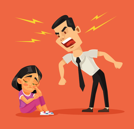 Father scolds his daughter. Vector flat cartoon illustration 版權商用圖片 - 57533465