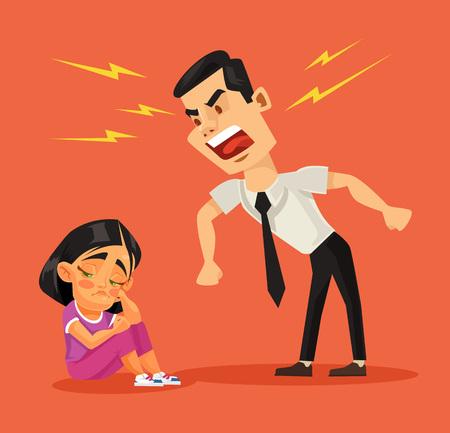 Pai repreende a filha dele. Ilustração em vetor plana dos desenhos animados