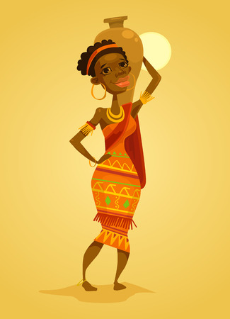 black woman: African black woman. Native african woman. Vector flat cartoon illustration