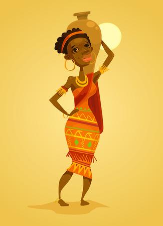 african culture: African black woman. Native african woman. Vector flat cartoon illustration