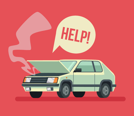 accident: Broken car. Road accident. Car with open hood. Vector flat cartoon illustration Illustration