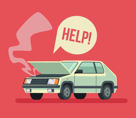 Broken car. Road accident. Car with open hood. Vector flat cartoon illustration Illustration