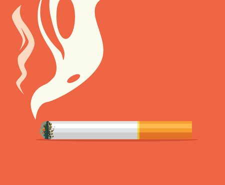 habit: Cigarette flat cartoon illustration. Bad habit. Burning cigarette