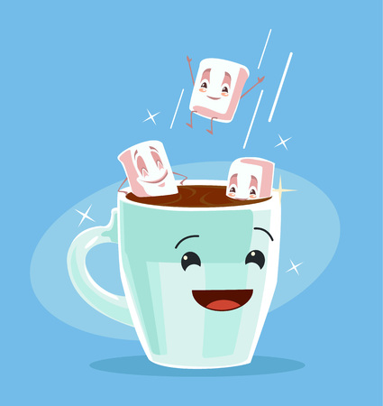 cocoa: Coffee with marshmallows. Cup of black coffee. Best friends. Vector flat cartoon illustration