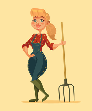 an agronomist: Farmer woman holding pitchfork. Happy farm girl. Vector flat cartoon illustration