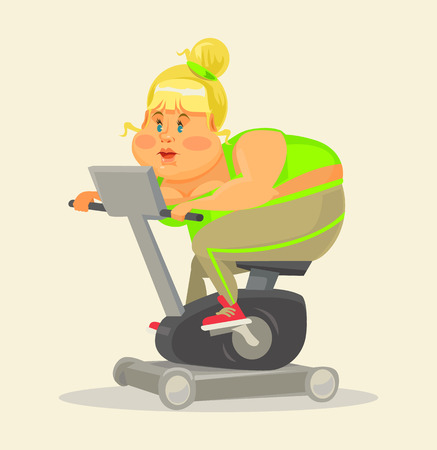 fatso: Fat woman in gym. Fat woman on exercise bike. Fitness flat cartoon illustration. Fat girl training