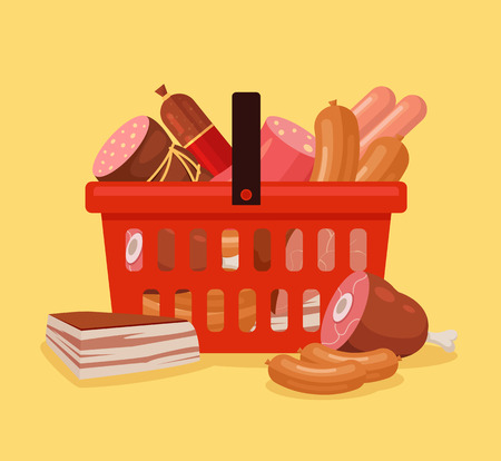 pork sausage: Meat shopping basket full of food. Fresh farm meat. Shopping cart with meat. Vector flat cartoon illustration Illustration