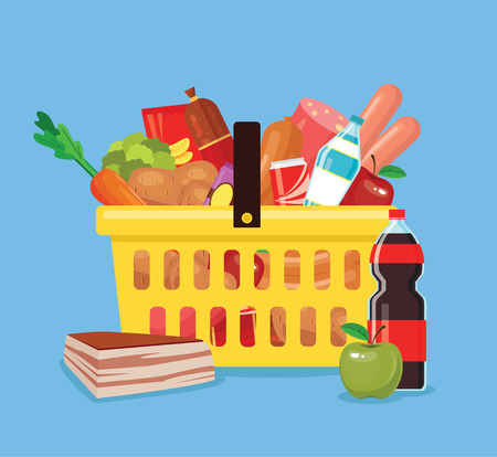 foodstuff: Food and drink basket. Shop basket full of fresh food. Vector flat cartoon illustration Illustration