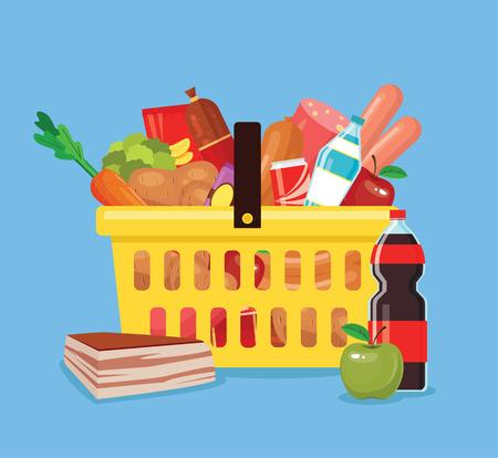 produits alimentaires: Nourriture et boissons panier. panier de la boutique pleine de nourriture fraîche. Vector plate illustration de bande dessinée Illustration
