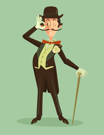 englishman: Victorian gentleman. Vintage britain gentleman in hat. Vector flat cartoon illustration