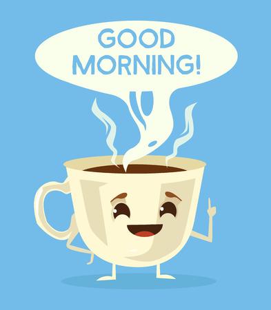 かわいいコーヒー カップ。ブラック コーヒーとおはようございます。ベクトル フラット漫画イラスト  イラスト・ベクター素材