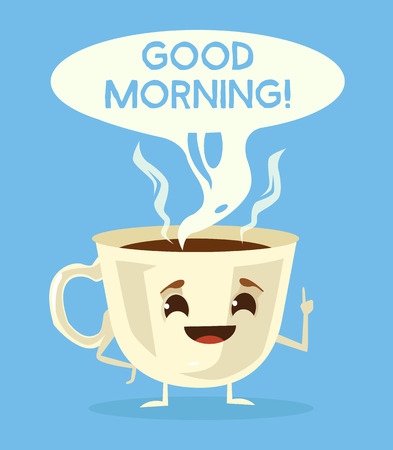 Cute cup of coffee. Good morning with black coffee. Vector flat cartoon illustration Vettoriali