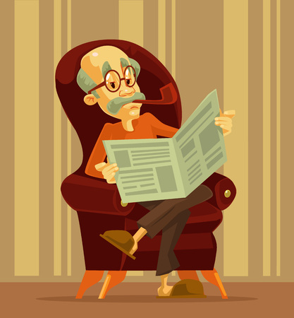 Old man reading newspaper. Grandfather smoking. Vector flat cartoon illustration Vettoriali