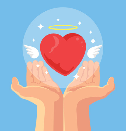 heart hand: Angel heart in hand. Heart in hand as symbol of love. Hand giving heart with wings. Vector flat cartoon illustration Illustration