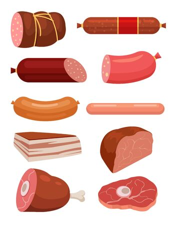 fresh meat: Set of fresh meat. Salami sausages. Best meat slice. Sausages and meat vector flat cartoon illustrations set