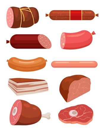 porcine: Set of fresh meat. Salami sausages. Best meat slice. Sausages and meat vector flat cartoon illustrations set