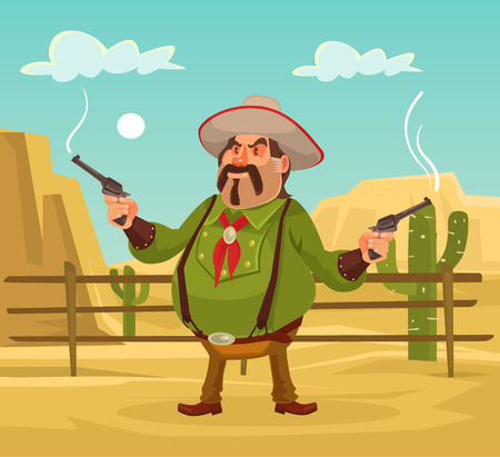 gunfighter: Mexican robber. Whild west. Vector flat cartoon illustration. Robber in desert Illustration