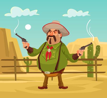 shoot: Mexican robber. Whild west. Vector flat cartoon illustration. Robber in desert Illustration