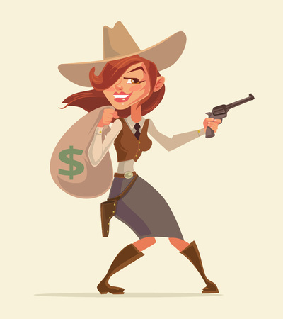 burglar: Cowgirl with pistol. Cowgirl thief. Western burglar girl hold money bag. Vector flat cartoon illustration