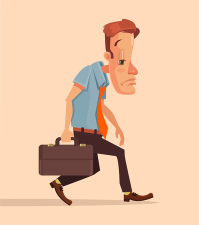 depression: Unlucky businessman. Worker lost job. Businessman has trouble. Bad day. Vector flat cartoon illustration