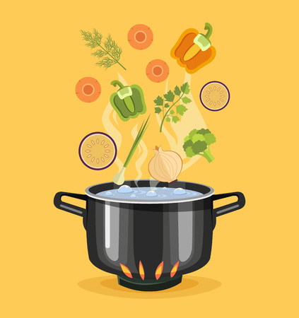 fire and water: Boiled vegetables. Boiled water in pan. Vegetables in hot water. Soup recipe. Vector flat cartoon illustration
