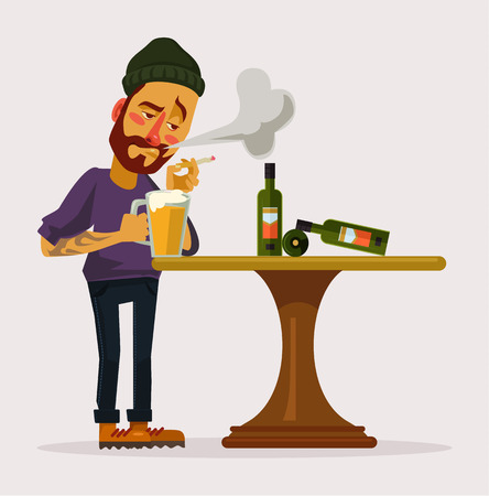 the hangover: Alcoholic man. Night club. Vector flat cartoon illustration