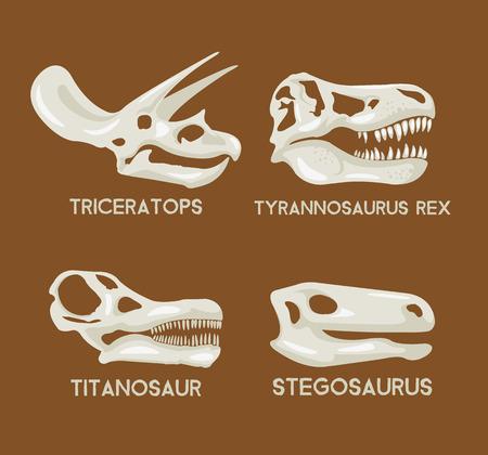 공룡 실루엣 머리 세트입니다. 벡터 평면 집합 그림입니다. 공룡 박물관