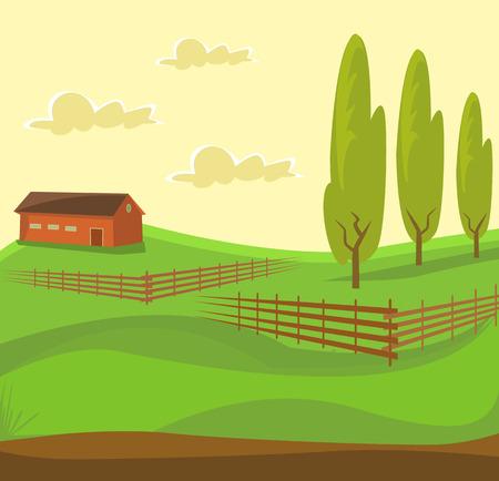 green fields: Farm landscape. Green farm. Rural landscape with fields. Vector flat cartoon illustration