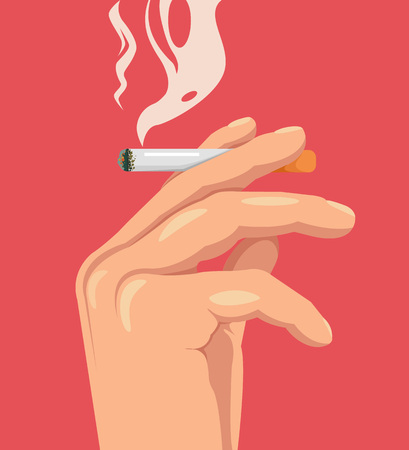 killing cancer: Hand hold cigarette. Smoking kills. Burning cigarette. Vector flat cartoon illustration Illustration