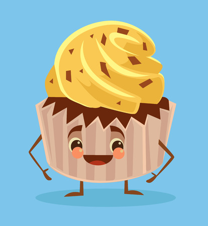 chocolate cupcake: Cupcake poster. Cupcake with funny face. Cupcake character. Vector flat cartoon illustration Illustration