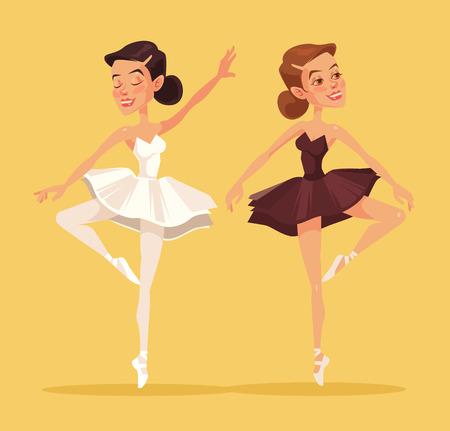 daemon: Ballerina in dance. Two black and white ballerina. Vector flat cartoon illustration