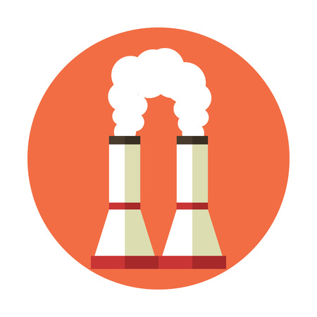 powerhouse: Air pollution. Factory chimney. Global warming. Vector flat cartoon icon illustration
