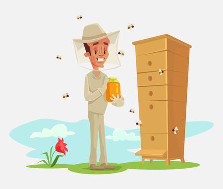 vector illustration: Beekeeper. Bee uly. Apiary. Bee garden. Vector flat cartoon illustration Illustration