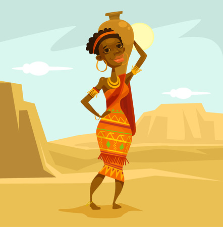 black woman: Black woman in desert. Vector flat cartoon illustration Illustration