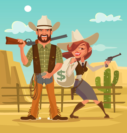 bonnie: Bonnie and Clyde. Woman and man thieves. Western robbers. Vector flat cartoon illustration Illustration