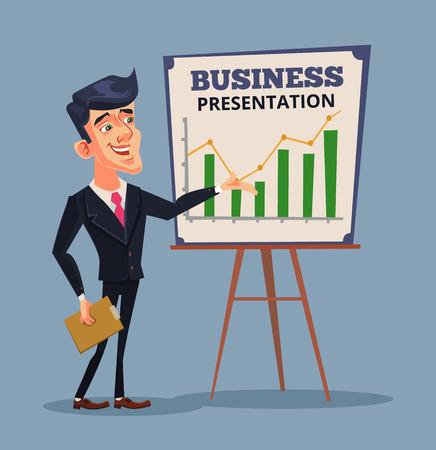training business: Business presentation. Successful businessman. Business training. Vector flat cartoon illustration