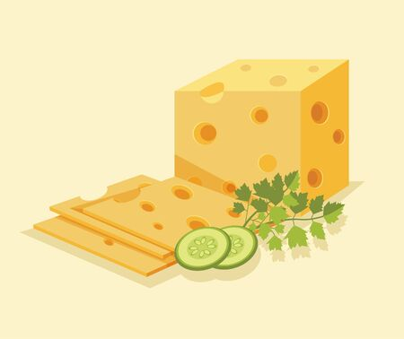 edam: Piece of cheese. Slice cheese. Yellow cheese. Vector flat cartoon illustration Illustration