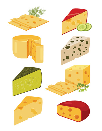Piece of cheese. Slice cheese. Yellow cheese. Vector flat cartoon illustration set