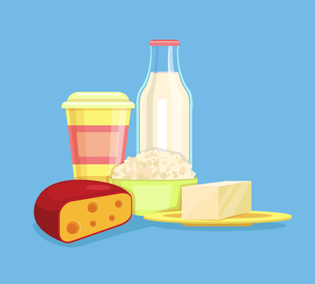 cottage cheese: Dairy products. Milk products. Farm products. Cheese, milk, cottage cheese, yogurt. Vector flat cartoon illustration