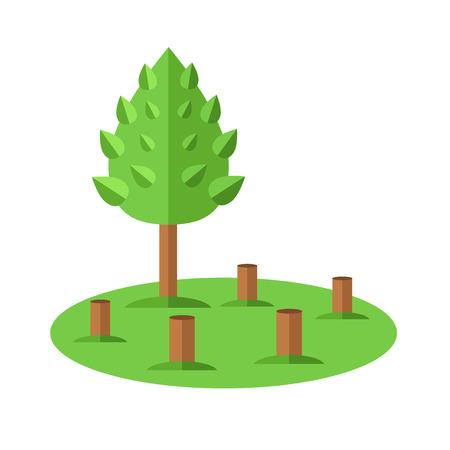 ecological problem: Deforestation icon. Ecological natural problem. Vector flat cartoon illustration