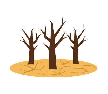 ecological problem: Drought icon. Ecological natural problem. Global warming. Vector flat cartoon illustration