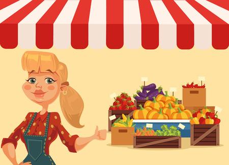 food market: Farm food market. Woman farmer. Fresh food from farm. Vegetables shop. Vector flat cartoon illustration