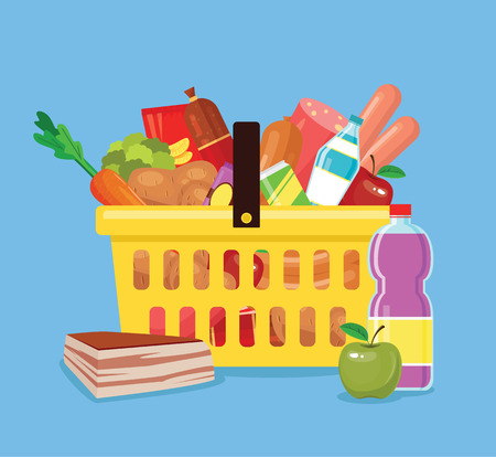 carrot isolated: Food basket. Fresh food in basket from shop. Basket full of food. Vector flat cartoon icon illustration