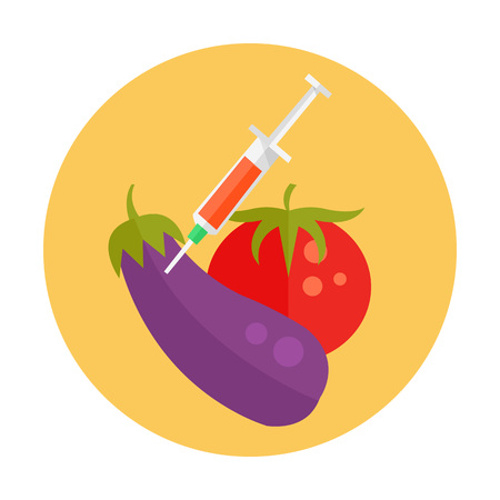 pesticide free: GMO cartoon illustration icon. Vegetables with syringe. Vector flat cartoon icon illustration