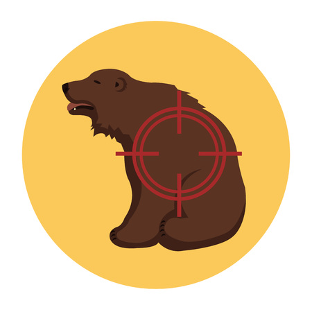 extermination: Hunting icon. Hunting ban. Prohibition hunting flat cartoon icon illustration