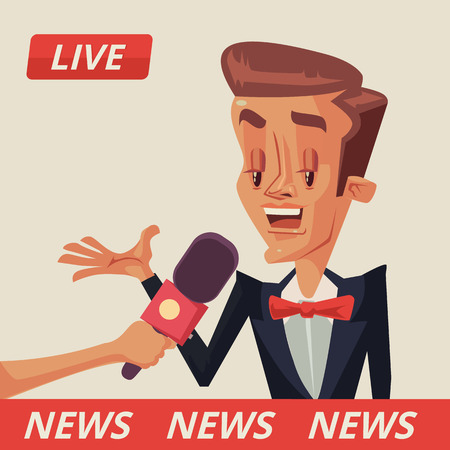 campaigning: Live interview. Interviews with politicians. Interview with movie star. Vector flat cartoon illustration