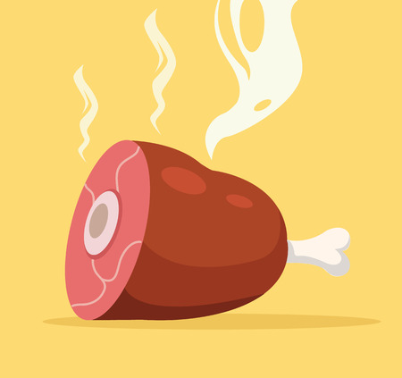 raw: Roast leg. Grill pork leg. Barbecue meat leg. Vector flat cartoon illustration