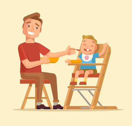 Man feeding baby. Father feeding baby. Vector flat cartoon illustration